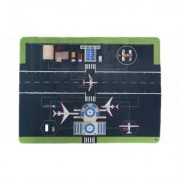 Baby Play Mat for Kids, Microfiber Flannel Fleece & Foam Mat with Non Slip Back Airport Scene