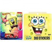 SpongeBob Sticker Pack + Hot Wheels Chevy Car Set Nickelodeon Collectible Pop Culture Real Rider Cars sticker book