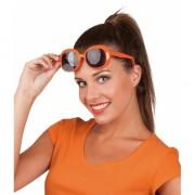Oranje bril donkere glazen vierkant