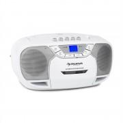 Auna BeeBerry Boom Box Ghetto Blaster FM radio și / MP3 player portabil ecran LCD casetofon CD alb pătrat (CS15-BeeBerry WH)