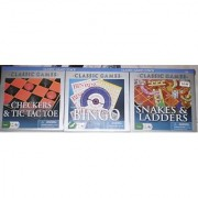 Classic Games 3 Pack - Checkers & Tic Tac Toe Bingo Chinese Checkers