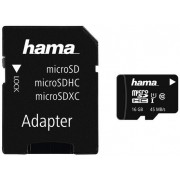Card de memorie Hama microSDHC, 16GB, Clasa 10, UHS-I, pana la 45 MB/s + Adaptor SD