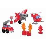 ÉCOIFFIER 3247 Abrick jucărie de construit Maşini rapizi -Pompieri cu avion şi cu elicopter de la 18 luni