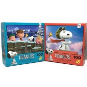 Peanuts 100 Piece Puzzle Set: - Snowy Fun and Flying Ace