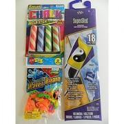 Toss'em Water Bomb Ballons & Filler Cap Supersled Kite - YinYang and Sidewalk Chalk 4Pk - Outdoor Bundle