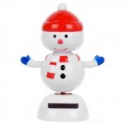 Solar Powered Cute Dancing Snowman Home Desk Table Decoration Car Decor - Red + White