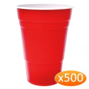 """American Red Plastic Party Cups - 425ml (500 Pack)"""