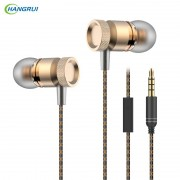 HANGRUI In ear Earphone Metal Bass Headset with Microphone Noise isolating Earbuds For iphone 6 xiaomi piston Smartphone