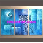 3 Quadri Dipinti a mano Toni Celeste Azzurro e Blu