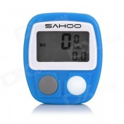 """SAHOO Water Resistant 1.3"""" LCD 14-Function Wired Bicycle Stopwatch - Blue (1 x LR44)"""