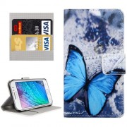 For Samsung Galaxy J1 Ace / J110 Blue Butterfly Patterns Horizontal Flip Leather Case with Magnetic Snap & Card Slots & Holder & Wallet