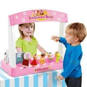 Ice Cream Shop with Pretend Play Desserts, Treats, and Cash Register (36 Pcs)