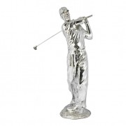 Enfeite Estatua Golfista 90X35X29 Prata Fullway