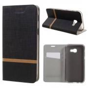 Samsung Galaxy A5 (2017) Wallet Case Hoesje - Book Case Denim en Leer - Zwart