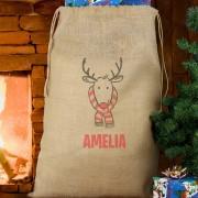 Personalised Christmas Hessian Sack Retro Reindeer