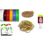 Vahvaa Bangle Making Basic Learning Kit - Includes Bangles SilkThread Pearl Chain Stone Lace Fabric Glue