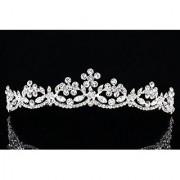 Flower Leaf Rhinestone Crystal Bridal Prom Tiara Crown T896