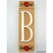 Numero civico ceramica con fiore rosso nfr12