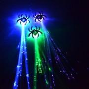 (6 Pk) 14 LED Spider Flashing Hair Braid Extensions Fiber Optic Light Up Flash Barrette Clip Braid Assorted Colors