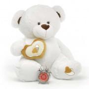 White 5 Feet Big Teddy Bear with a heart