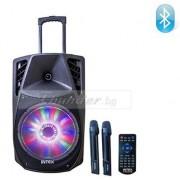 """Преносима Професионална Активна Тонколона 12"""" LH-2312 с вграден усилвател, акум. батерия, два безжични микрофона, BLUETOOTH, FM/SD/USB, 200W RMS"""