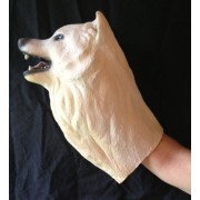 All Natural Hand Made Latex Arctic Wolf Hand Puppet (13 Inches Long)