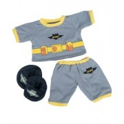 Batboy PJ's W/Slippers Teddy Bear Clothes Outfit Fits Most 14 - 18 Build-A-Bear, Vermont Teddy and Make Your Own Stuffed Animals by Stuffems Toy Shop