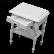 Magideal 1/12 Dollhouse Bedside Cabinet Miniature Furniture Model House Decoration White Wooden