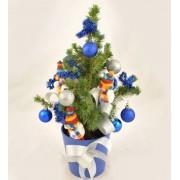 Bradut impodobit cu decoratiuni albastre - 30 cm