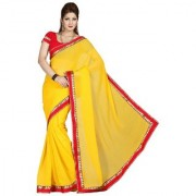 Triveni Admirable Vibrant Yellow Colored Border Worked Faux Chiffon Saree
