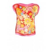Get A Dress Top Flowers Rosu cu imprimeu