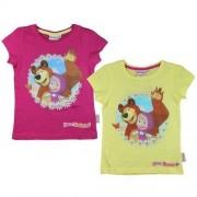 T-shirt Masha i Niedźwiedź różowy / żółty