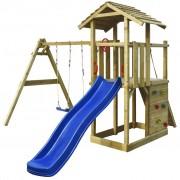 vidaXL Dřevěný set dětské hřiště se skluzavkou, žebříkem a houpačkami