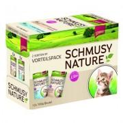 Smíšené výhodné balení Schmusy Nature Kitten 12 x 100 g - telecí, drůbeží, těstoviny a psyllium s lososem, jehněčí, rýže a rybí olej