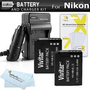 2 Pack Battery And Charger Kit For Nikon COOLPIX S9900 A900 S9500 S9300 S6300 S9200 AW120 AW130 S9700 KeyMission 360 KeyMission 170 Camera Includes 2 Replacement EN-EL12 Batteries + Charger +