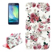 Chinese Rose Pattern Colored Drawing Leather Case with Holder & Card Slots & Wallet for Samsung Galaxy A5 / A500F