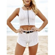 Zaful Stripe Hollow Out Crop Top + Tie-Up Shorts