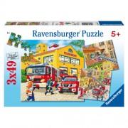 Puzzle brigada de pompieri, 3x49 piese, RAVENSBURGER