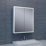 Spiegelkast Quatro 60x70x13cm Aluminium Geintegreerde LED Verlichting Sensor Lichtschakelaar Stopcontact Glazen Planken
