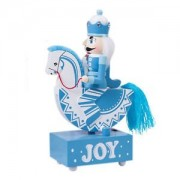 ELECTROPRIME Blue Trojan Horse Cavalry Music Box Toys with Light Romantic Clockwork Boxes