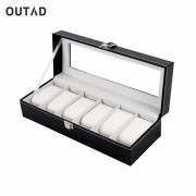 OUTAD Classic 6 Grid Casket Watch Winder Boxes case Refinement Slots Wrist Watches Gift Jewelry Leather Display Storage Holder