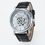 Masculino / Mulheres / Unissex Relógio Esqueleto / Relógio de Pulso Quartz / PU Banda Casual Preta / Marrom marca