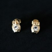 Semi Earring Jewelry Gold Plated Owl with Stone Zirconia