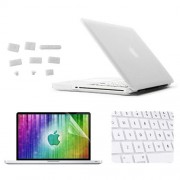 ENKAY 4 in 1 Frosted Hard Shell Plastic Protective Case with Screen Protector & Keyboard Guard & Anti-dust Plugs for MacBook Pro 15.4inch(White)