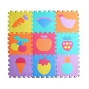 Jessie& Letty 90 * 90 cm Tapis de jeu en Mousse Dessin Animaux Soft Foam fruit vehicles Zoo Animal Jigsaw Puzzle Mat Playmat children's rugs playmat playmat Puzzle Alphabet & Numbers (fruit)