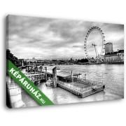 A Temze, háttérben a London Eye (40x25 cm, Vászonkép )