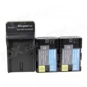 Batteries Kingma LP-E6 1400mAh Double w / US Plug Chargeur pour appareil photo Canon - Noir (100 ~ 240V)