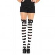Fancy Cat Striped Pantyhose O/S Blk/Wht