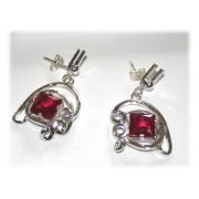 Boucles d'Oreilles Fantaisie Rouge Uniques Argent