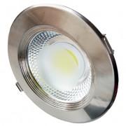 LED panel , mélysugárzó , 30 W , süllyesztett , kerek , hideg fehér , inox keret